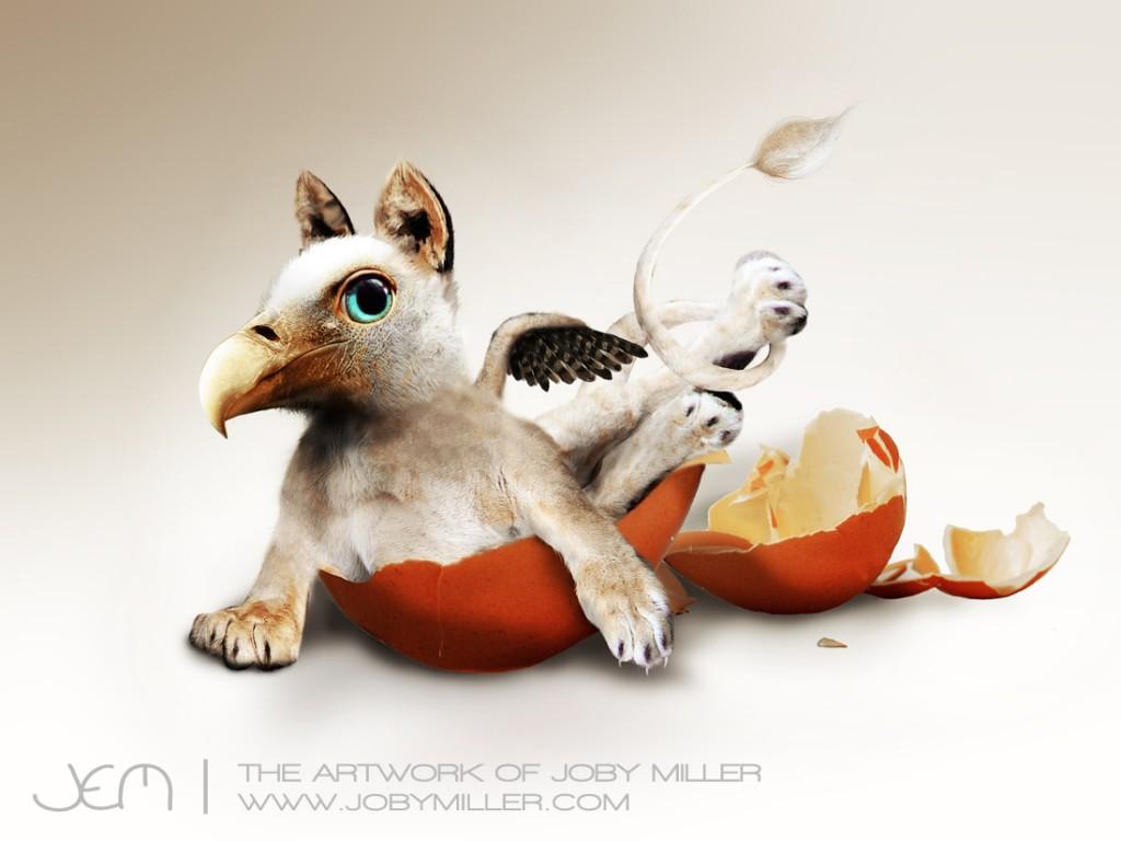 Griffin Hatchling_Photoshop_Illustration_JobyMiller
