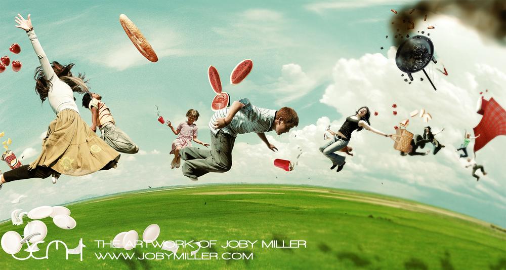 Picnic on Gravity Hill_Photoshop_Illustration_JobyMiller